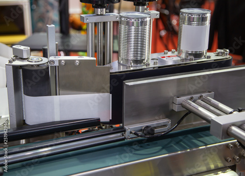 Full automatic tin can label machine in food production line Canvas Print