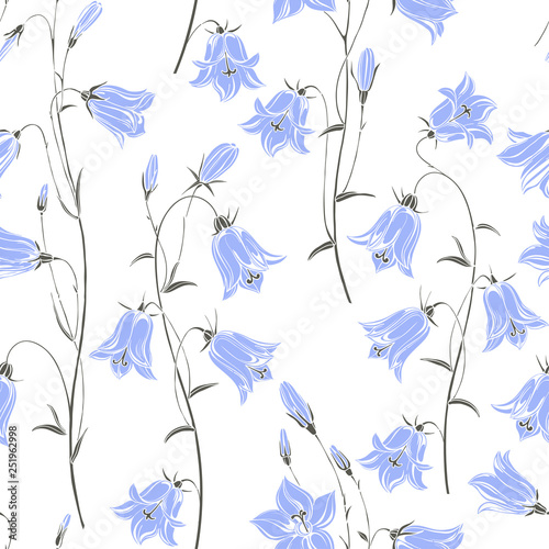 Seamless vector pattern with flowers bluebells Canvas Print