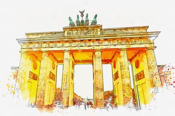 Fototapeta Architektura Watercolor sketch or illustration of a beautiful view of the Brandenburg Gate in Berlin in Germany