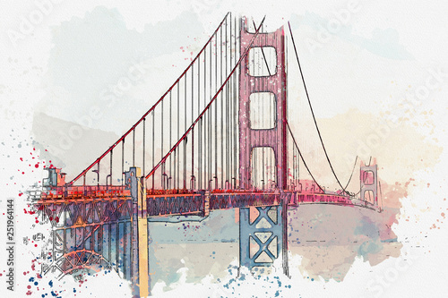 Watercolor sketch or illustration of the beautiful view of the Golden Gate Bridg Wallpaper Mural