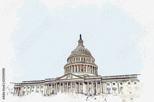Fotografia, Obraz  Watercolor sketch or illustration of a beautiful view of the US Capitol building