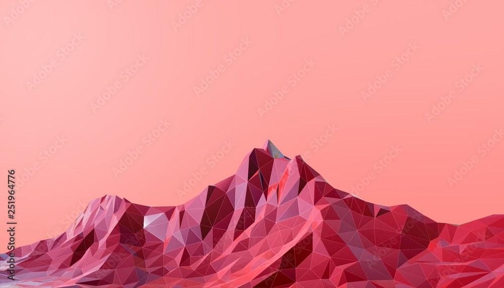 Fototapety, obrazy: Geometric Mountain Landscape art Low poly with Colorful  Red Background- 3d rendering