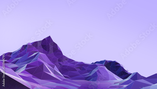 Landscape Low poly with Colorful Gradient Psychedelic Purple - Blue on Background- 3d rendering