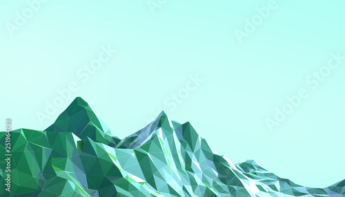 Door stickers Light blue Mountain Landscape Low poly art Gradient Psychedelic with Colorful Blue on Background- 3d rendering