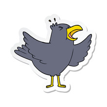 Sticker Of A Cartoon Squawking...