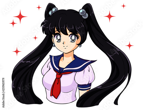 Cute cartoon girl with black tails in school sailor uniform. 90 s anime style hand drawn vector illustration. - 251965979