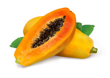 Whole And Half Of Ripe Papaya Fruit