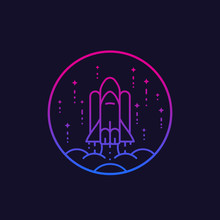 Space Shuttle Launch Vector Line Icon
