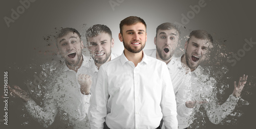 Different emotions of young man on grey background Fototapeta