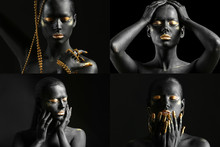 Beautiful Woman With Black And Golden Paint On Her Body Against Dark Background, Closeup
