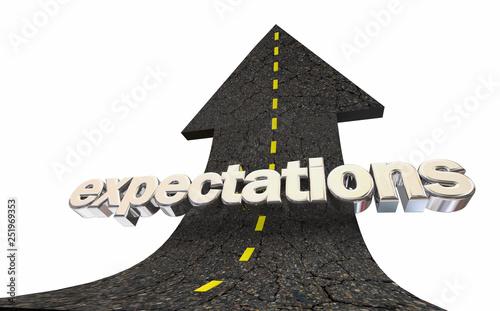Expectations Rising High Hopes Road Arrow Word 3d Illustration Canvas Print