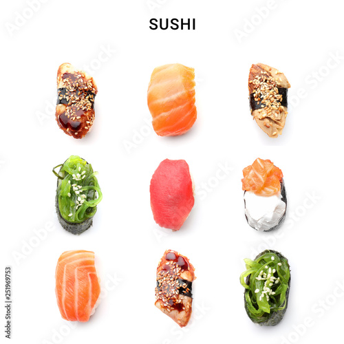 Poster de jardin Sushi bar Different sushi on white background
