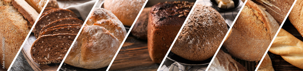 Fototapety, obrazy: Collage of photos with fresh bakery products