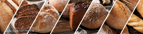 Fotobehang Bakkerij Collage of photos with fresh bakery products