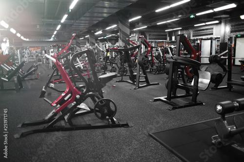 Modern equipment in new gym indoors Obraz na płótnie