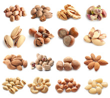 Assortment Of Tasty Nuts On Wh...