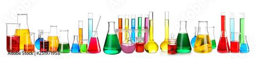 Obraz Laboratory glassware with color samples on white background - fototapety do salonu