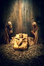 Wooden Christmas Manger Scene