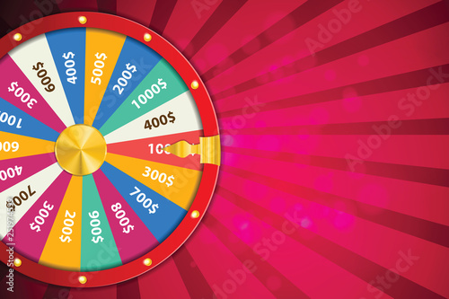 Fotografia Realistic 3d spinning fortune wheel, lucky roulette vector illustration