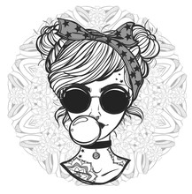 Vector Illustration. Retro Girl With Glasses And Tattoos. Handmade, Prints On T-shirts, Tattoos, Background White