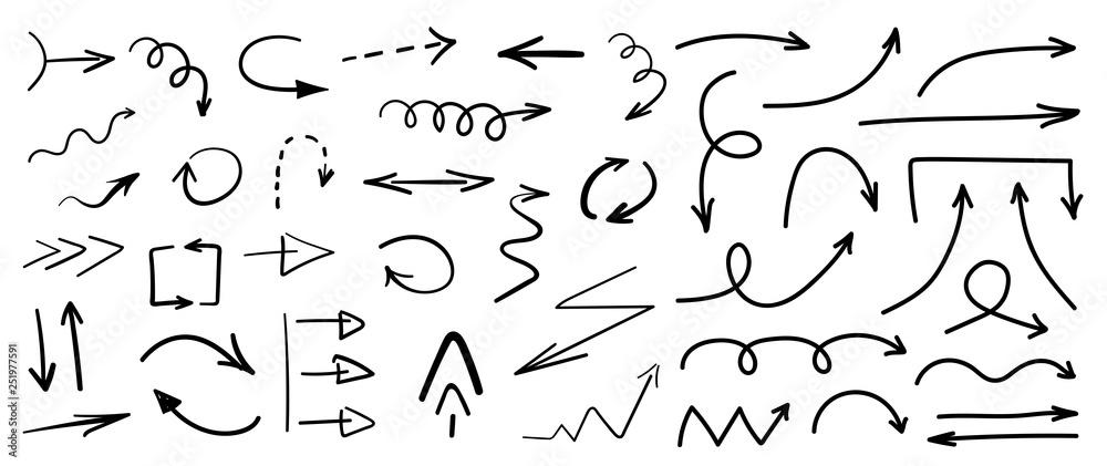 Fototapety, obrazy: Set of black grunge hand drawn arrows isolated on white. Vector illustration
