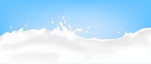Flow Cow Milk Crown Splash Closeup Blue Background Vector