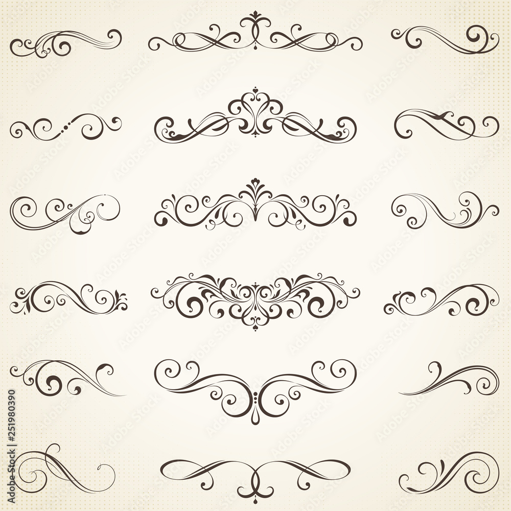 Fototapety, obrazy: Vector set of ornate calligraphic vintage elements, dividers and page decorations.