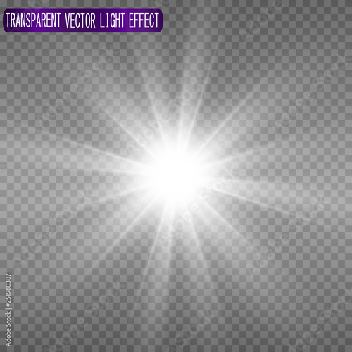 Fototapeta White beautiful light explodes with a transparent explosion. Vector, bright illustration for perfect effect with sparkles. Bright Star. Transparent shine of the gloss gradient, bright flash obraz na płótnie