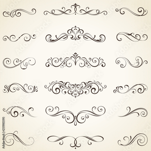 Photo  Vector set of ornate calligraphic vintage elements, dividers and page decorations
