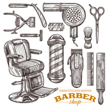 Vector Collection Of Hand Drawn Barbeshop Tools And Accessories In Engraving Style. Sketch Vintage Illustration Of Shaving And Hairdresser Equipments: Razor, Comb, Scissors, Barber Shop Pole, Brush