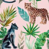 Seamless pattern with leopard and panther, tropical leaves. Trendy style. Exotic and jungle animal. Hand drawn watercolor illustration. Summer luxury design for print, printing on paper or fabric - 251981725