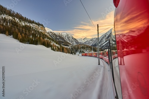 The Bernina Express Red Train through the Alps