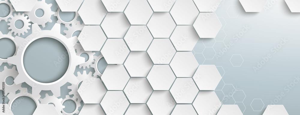 Fototapeta White Hexagon Structure Gears Header