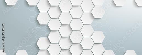 Fotografía  White Hexagon Structure Centre Header