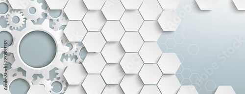 White Hexagon Structure Gears Header Wallpaper Mural