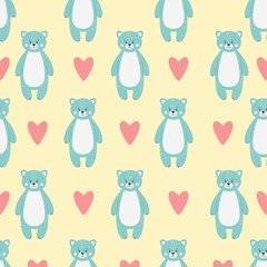 Pattern with cute funny blue bear animal