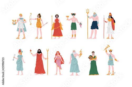 Olympian Greek Gods set, Apollo, Hera, Dionysus, Zeus, Demetra, Hermes, Clio, Ar Wallpaper Mural