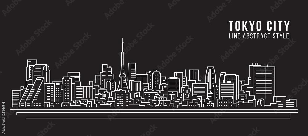 Fototapeta Cityscape Building Line art Vector Illustration design - Tokyo city
