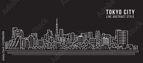 Cityscape Building Line art Vector Illustration design - Tokyo city Canvas Print