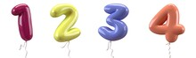 Brilliant Balloons Font Number 1, 2, 3, 4 Made Of Realistic Elastic Color Rubber Balloon. 3D Illustration For Your Extraordinary Balloon Decoration In Several Concepts Idea In Many Occasions