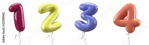 Fotografia Brilliant balloons font number 1, 2, 3, 4 made of realistic elastic color rubber balloon
