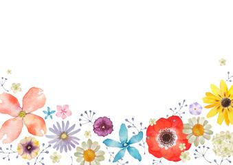 春の花 夏の花 背景 フレーム 水彩