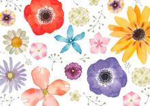 春 夏 花 背景 テキスタイル 水彩 イラスト