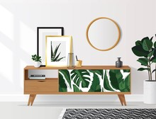 Wooden Sideboard With Plants And Posters On It Against White Wall. Modern Interior With Tropical Elements. Vector Illustration