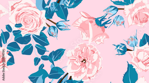 Foto op Canvas Draw Floral Roses Pattern in Pastel Colors.