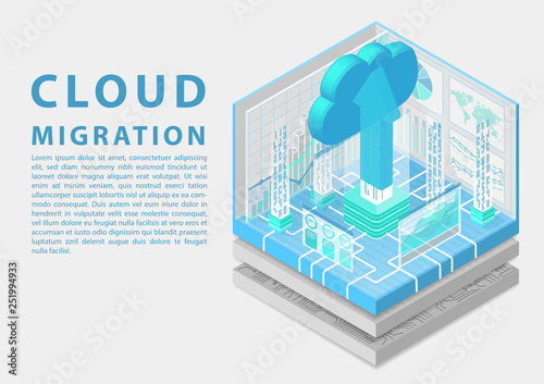 Fototapeta Cloud migration concept with symbol of floating cloud and upload arrow as isometric 3d vector illustration