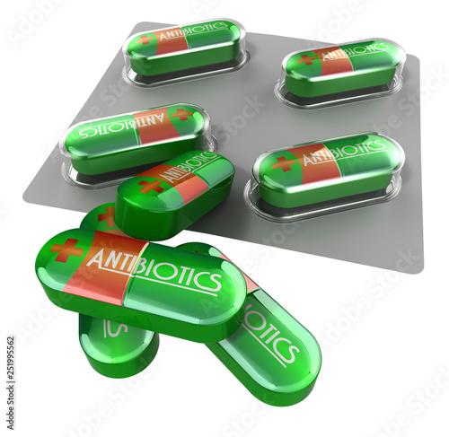Fototapeta Medicines Collection® – Antibiotics, Red & Green pills obraz
