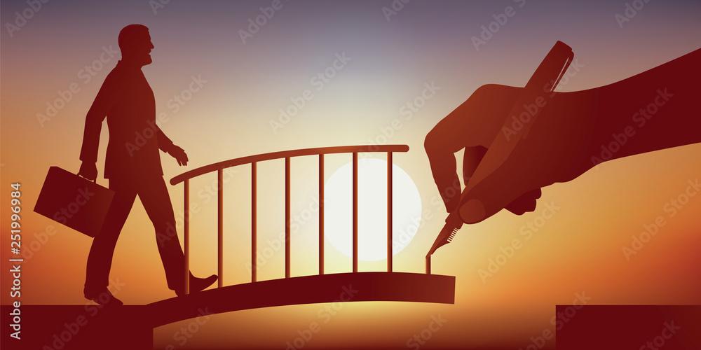 Fototapeta Concept de la solution, avec une main qui dessine un pont pour faciliter le franchissement d'un obstacle à un homme d'affaire et l'aider à atteindre son objectif. - obraz na płótnie