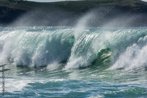 Wall Murals Ocean Breaking Wave and Spray, Cornwall, UK