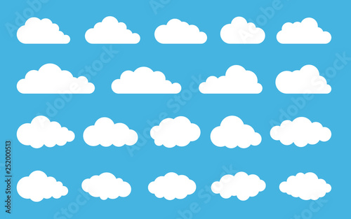 Obraz Cloud. Abstract white cloudy set isolated on blue background. Vector illustration - fototapety do salonu